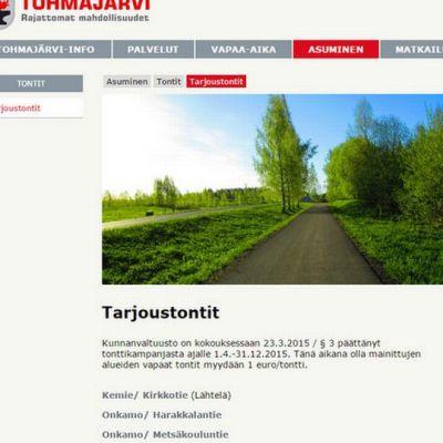 Kuvakaappaus Tohmajärven kunnan sivuilta