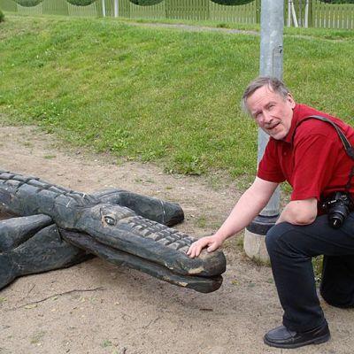 Vesa Vallo ja hänen pihassaan kasvaneesta lehtikuusesta veistetty puinen krokotiili