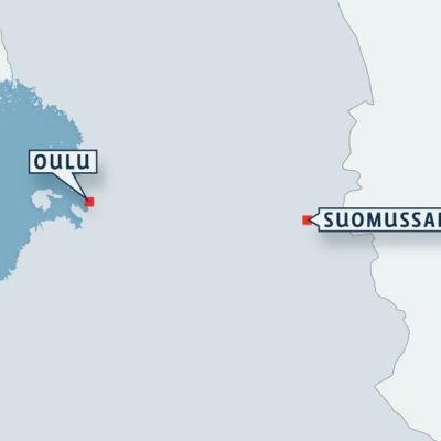 Kartta Suomussalmen sijainnista.