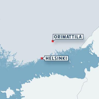 Kartta Orimattilan sijainnista.