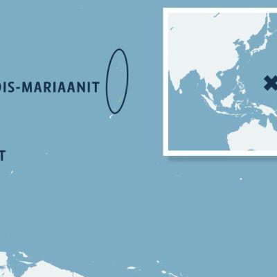 Kartta Pohjois-Mariaanien sijainnista.
