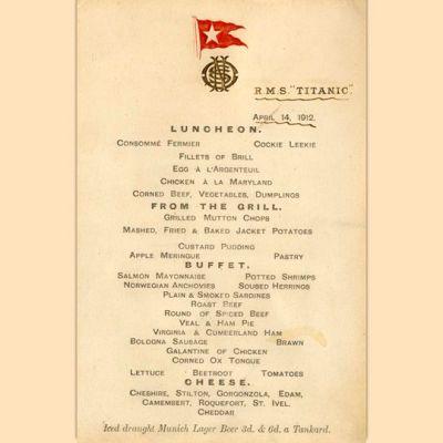 Titanicin ensimmäisen luokan menu 14. huhtikuuta 1912.