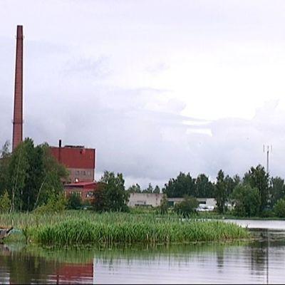 Järvimaisema, johta hallitsee tehtaan piippu.