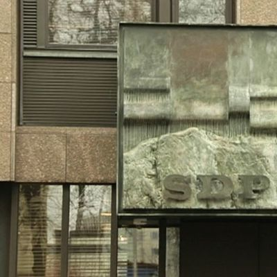 SDP:n puoluetoimiston sisäänkäynti Helsingin Hakaniemessä.