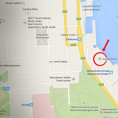 Kuvakaappaus Guggenheimin sijainnista Googlen karttapalvelussa. Guggenheimin suunniteltu sijainti rengastettu.