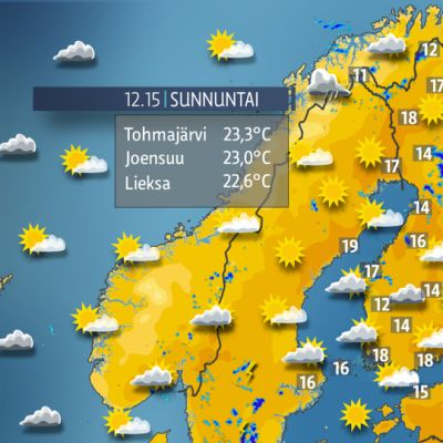 Sunnuntain lämpötilat -sääkartta.