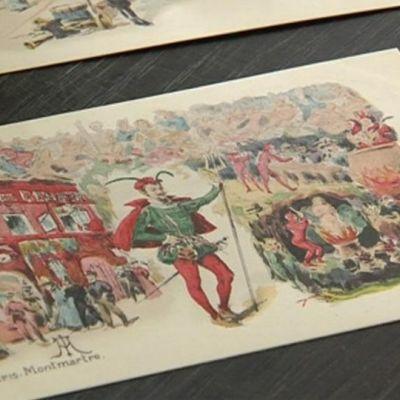 Albert Edelfeltin piirtämä postikortti.