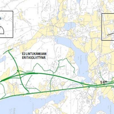 Kirri-Tikkakoski moottoritien linjauksen kartta.
