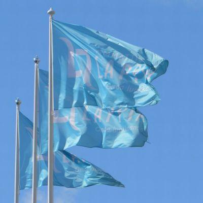 Lappian liput liehuvat tuulessa vaaleansinistä taivasta vasten.