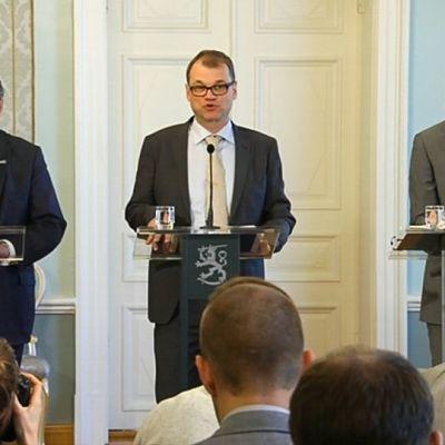 Timo Soini, Juha Sipilä ja Alexander Stubb