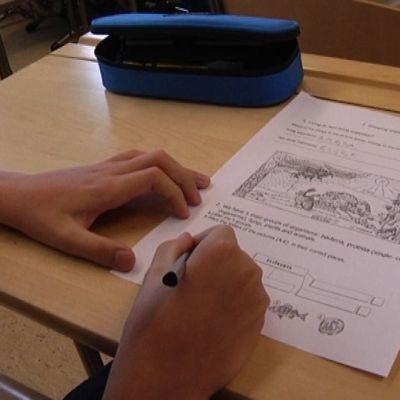 Koululainen kirjoittaa paperiin.
