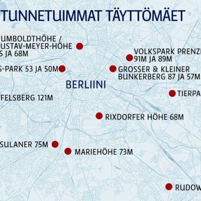Berliinin tunnetuimmat täyttömäet-kartta.