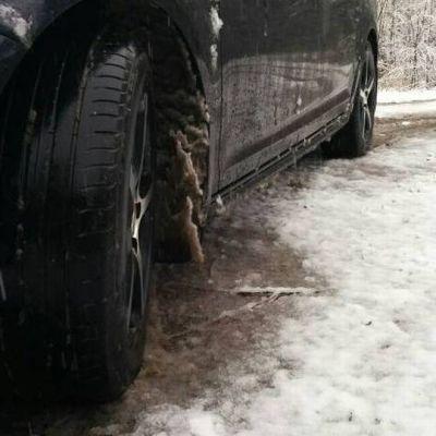 Lumisohjoa ja auton kesärengas.