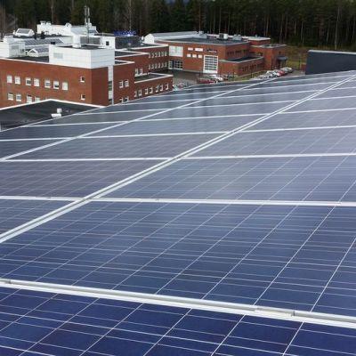 Aurinkopaneleita katolla