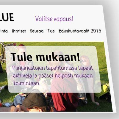 Piraaattipuolueen nettisivu.