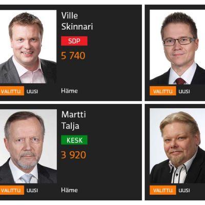Neljä uutta Päijät-Hämeestä valittua kansanedustajaa.