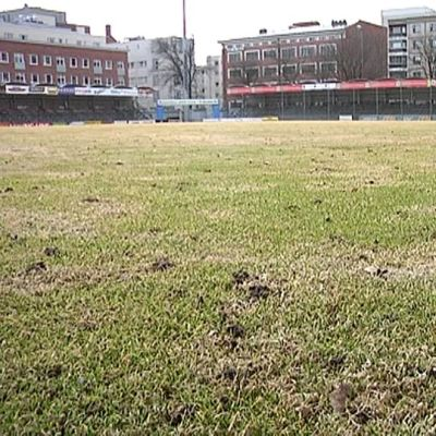Jalkapallokentän nurmea.