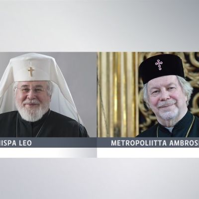 Grafiikka, jossa näkyvät arkkipiispa Leo ja metropoliitta Ambrosius.