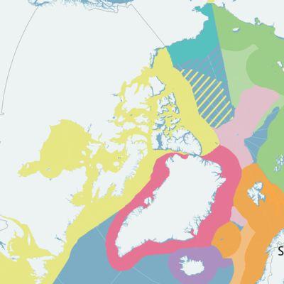 Arktisen alueen talousvyöhykkeet ja vaatimukset.