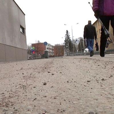 Lappeenrannassa kaduilla pöllyää. Kuva: Pasi Tapanainen.