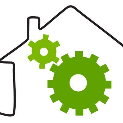 Grafiikka, jossa USB-johdosta muodostuu talon ääriviivat.