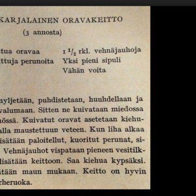 Pohjoiskarjalaisen oravakeiton resepti.