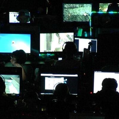Ihmisiä tietokoneruutujen äärellä.