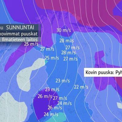 Kovimmat mitatut tuulenpuuskat Pohjois-Suomessa sunnuntain vastaisena yönä ja aamuna 13.10.2013