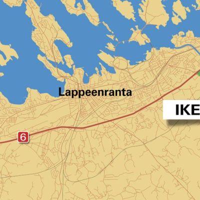 Grafiikka Ikean tontista Lappeenrannassa.