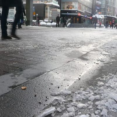 Jyväskylän kävelykatu talvella.