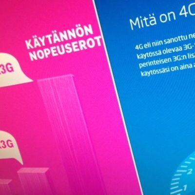 4G-mainokset lupaavat nopeita langattomia nettiyhteyksiä.