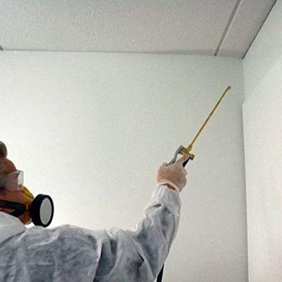 Tuholaistorjuja suihkuttaa myrkkyä seinään