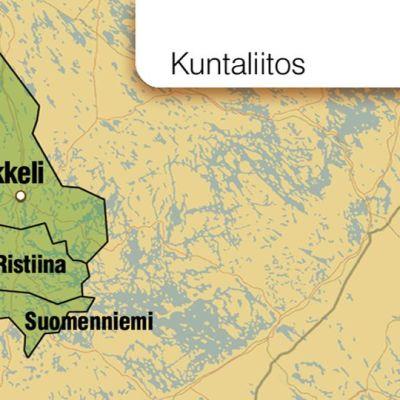 Grafiikka Mikkelin, Ristiinan ja Suomenniemen kuntaliitoksesta.