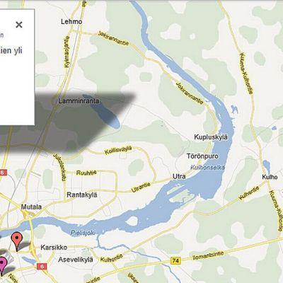 Joensuun pyöräilypulmat Google Mapsissa.