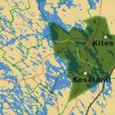 Kartta, johon merkitty Kitee ja Kesälahti.