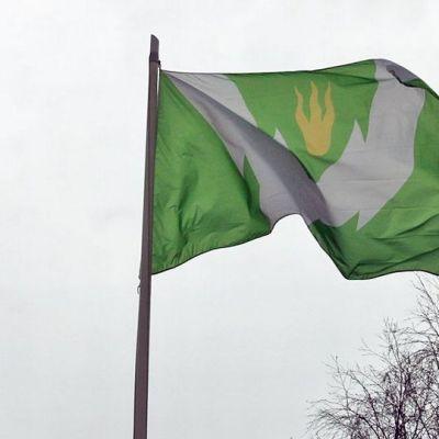 Rovaniemen lippu kaupungintalon salossa