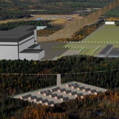 Fennovoiman havainnekuva Pyhäjoen ydinvoimalasta.