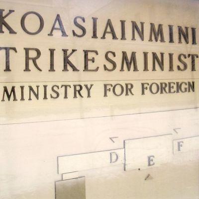 Ulkoasiainministeriön kyltti.