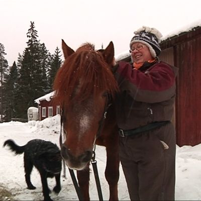 Hevostalouden opiskelija Anne Tourunen yhdessä Onni-koiran ja Pekan Muisto -oriin kanssa.