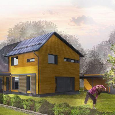 Havainnekuva energiatehokkaasta omakotitalosta