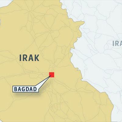 Bagdadin sijainti Irakin kartalla.