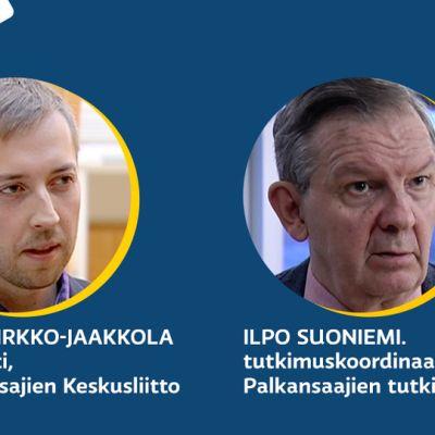 Kysymyksiin ovat vastaamassa Veronmaksajien Keskusliiton ekonomisti Mikael Kirkko-Jaakkola ja Palkansaajien tutkimuslaitoksen tutkimuskoordinaattori Ilpo Suoniemi.