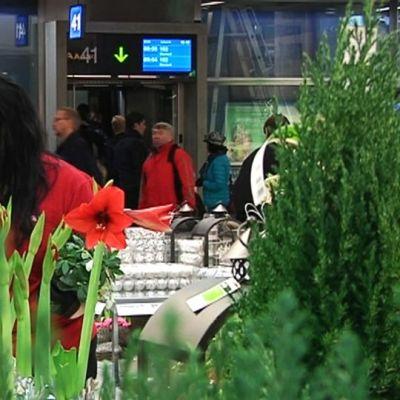 Puutarhamyymälä Kampin bussiterminaalissa.