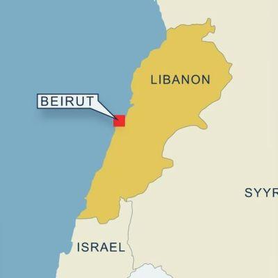 Kartta Beirutin sijainnista Libanonissa.