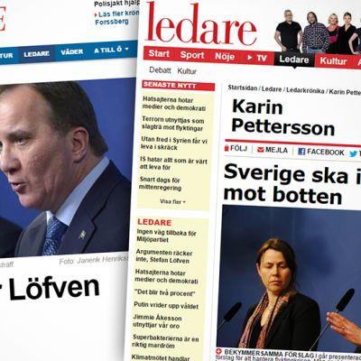 Kuvakaappaukset AftonBladetin ja Expressenin sivuilta.