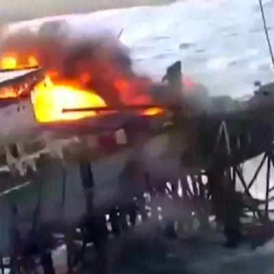 Öljynporauslautta tulessa