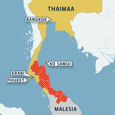 Thaimaan provinssit, joissa on julistettu katastrofialueita.