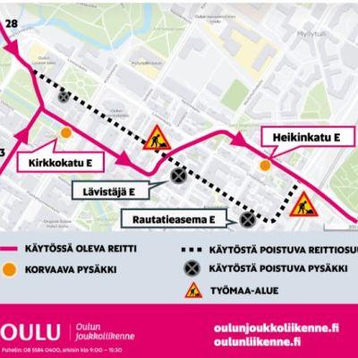 Kesän 2021 joukkoliikenteen poikkeusjärjestelyt Oulun keskustassa.