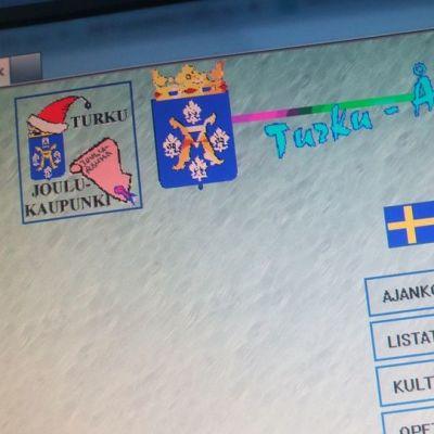 Turun kaupungin nettisivut vuonna 1996.