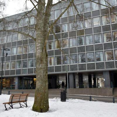 Talo kuvattuna talvella Sibeliuksenpuistosta käsin